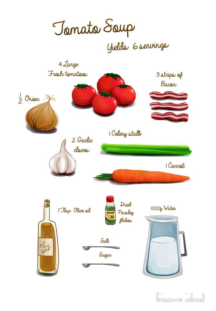 ~ bizarre island ~: No Stock?! No problem! One Healthy Soup | Tomato Bisque Recipe #infographic #recipe #illustration