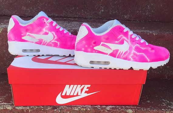 Custom made nike air max 90 Pink storm LAST ORDER DATE FOR XMAS IS 1ST OF DEC FOR THEM TO ARRIVE IN TIME Sizes upto 5.5 are mesh bigger sizes are all leather Brought from Nike or foot asylum then customised These are weatherproof and also washable although I would advise you didnt as