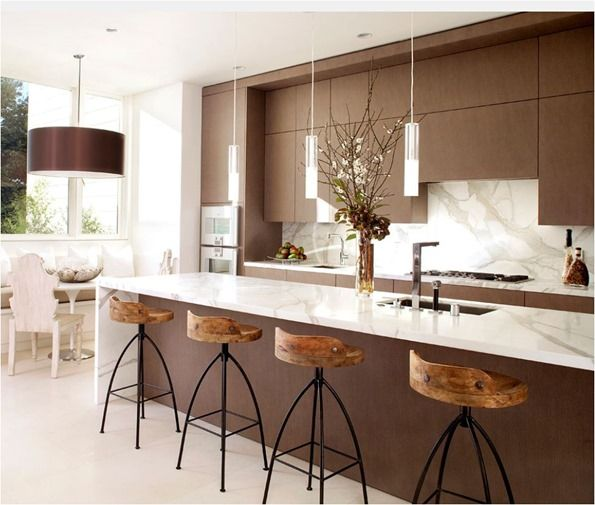 Kitchen Peninsula Banquette: Browns/ Rich Brown Lamp Shade. Counter Height Peninsula
