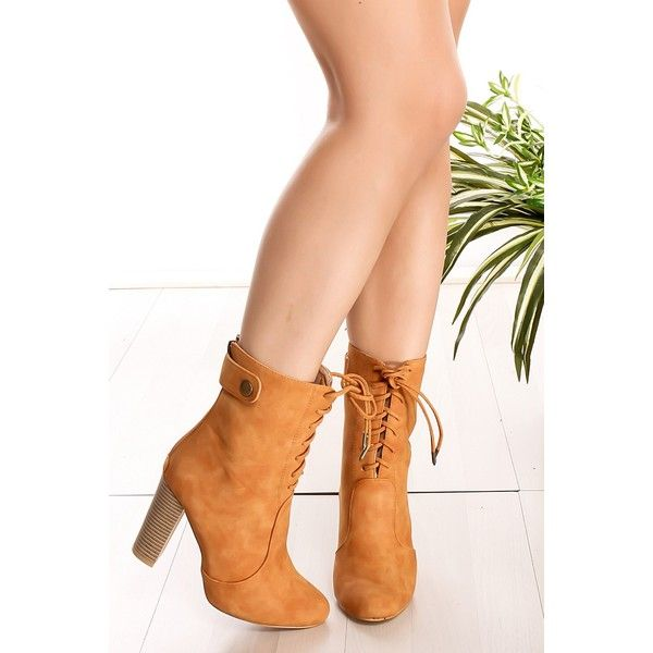 Camel back zipper laces button accent mid calf boots (11.330 CLP) ❤ liked on Polyvore featuring shoes, boots, camel, high heel boots, rear zip boots, calf length boots, button boots and back zipper boots