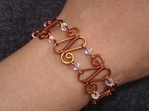 How to make simple wire bracelet with sparkling crystal beads - YouTube