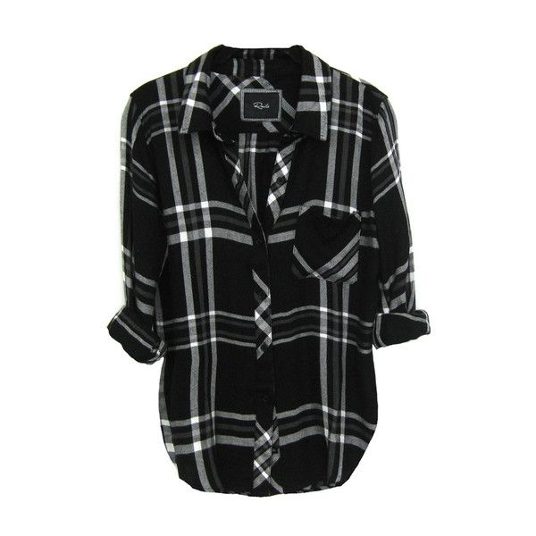 Rails Hunter Shirt in Black/White/Gray (£105) ❤ liked on Polyvore featuring tops, blouses, shirts, flannels, shirt blouse, white and black blouse, black white flannel shirt, flannel blouse and gray flannel shirt