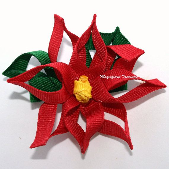 Poinsettia Ribbon Sculpture Hair Clip or Pin via Etsy