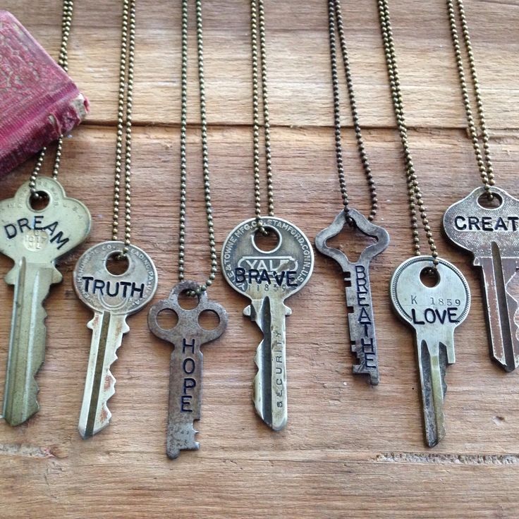 Hand Stamped Vintage Key Necklace with Inspirational Word #woodenhive…