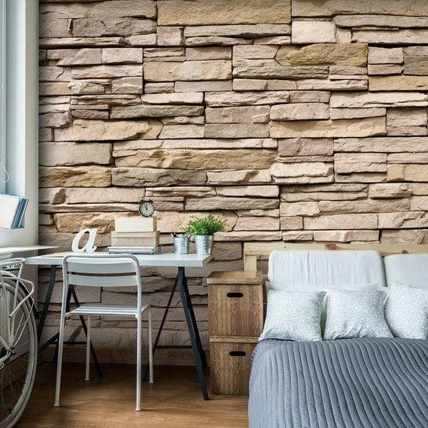 papel pintado imitando pared de piedra