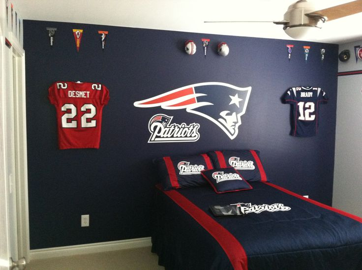 Ultra Mount jersey display hangers help create the ultimate New England Patriots bedroom!