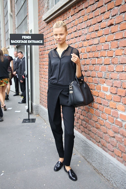 perfect cut pants. sheer blouse. minimalist style