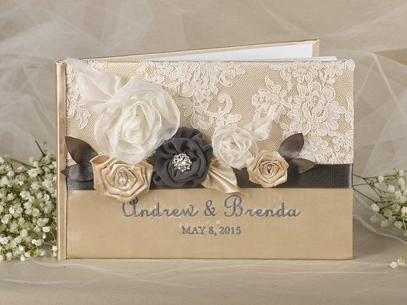 Lace Vintage  Guestbook, Custom Colors  Wedding Guest Book, Wedding Shabby Chic flowers   PhotoAlbum