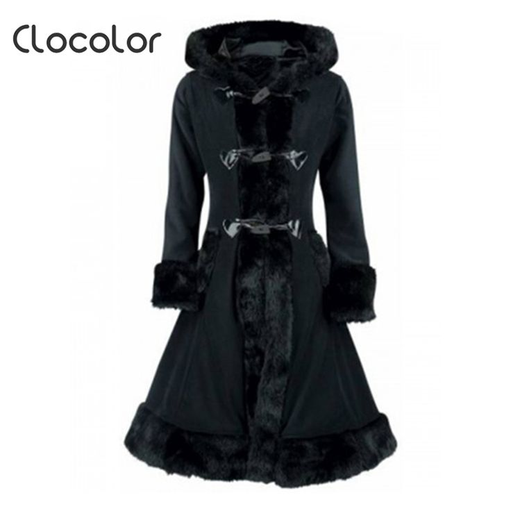 Clocolor Women Black Hooded Winter Wool Coat Full Sleeve Autumn Winter Warm Female Long Cloaks Outwear Back Lace Up Wool Coat <3 Find similar products by clicking the VISIT button