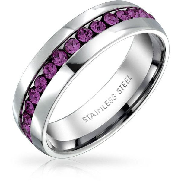 Amethyst Color Crystal February Birthstone Eternity Ring Steel ($13) ❤ liked on Polyvore featuring jewelry, rings, engraved jewelry, purple, stackable engraved rings, anniversary rings, amethyst birthstone ring, band rings and purple amethyst ring