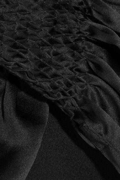 Haider Ackermann - Smocked Silk-satin Shirt - Black - FR