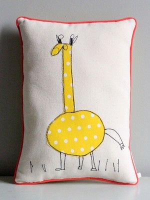 French pillows made from children's drawings.