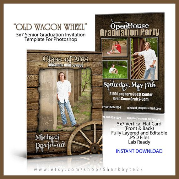 2016 Senior Graduation Invitation 5x7 Flat Card by Sharkbyte2k