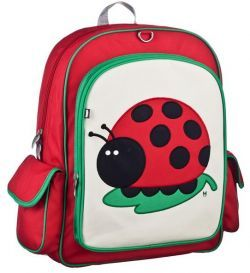 Juju the Ladybug Big Kids Backpack by #BeatrixNY - Big enough to hold textbooks, lunch, a laptop, & more. These durable nylon packs have a large interior space with a smaller interior pocket. Exterior has a large front pocket and two side pockets. Padded back panel and shoulder straps. PVC free, lead free, and phthalate free.