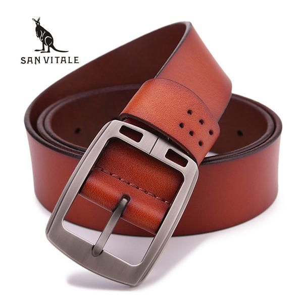 100% cowhide genuine leather belts for men brand male pin buckle ... 6499d3625e20