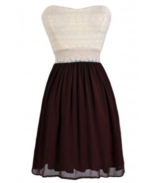 Lily Boutique Bright Days Chiffon and Lace Dress in Burgundy $38