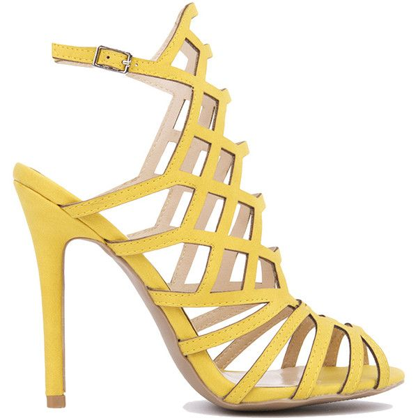 Vegan Leather Caged Heeled Sandals - Yellow (€33) ❤ liked on Polyvore featuring shoes, sandals, yellow nubuck pu, faux leather sandals, high heel shoes, heeled sandals, vegan shoes and synthetic leather shoes
