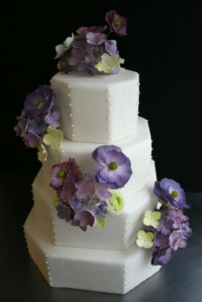 white and lavender wedding caketo fit Mike's purple and green wedding idea..