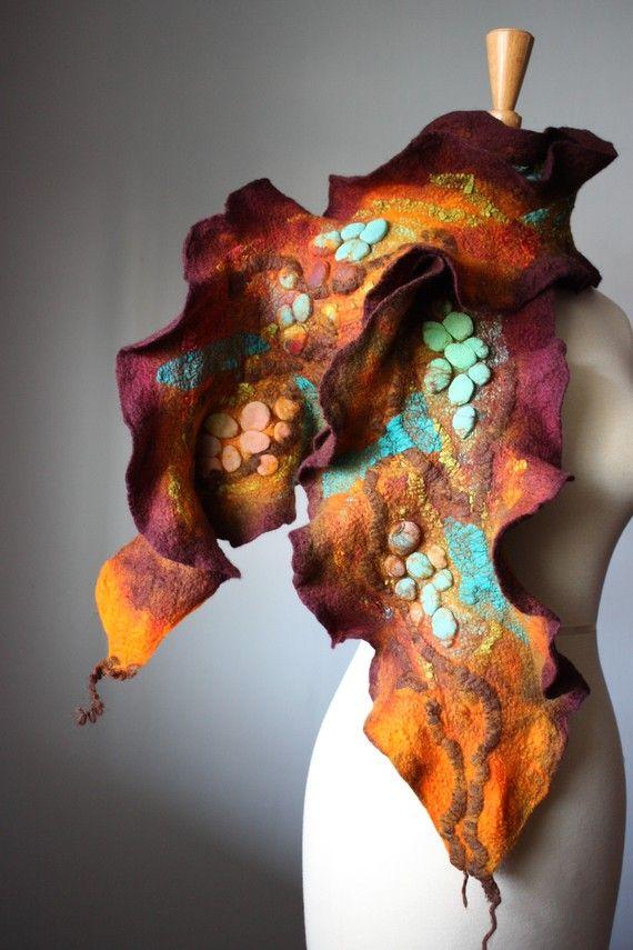 Wet felted Art scarf wool silk
