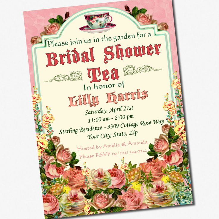 Tea Party Bridal Shower Invitations Party Invitations Wonderful