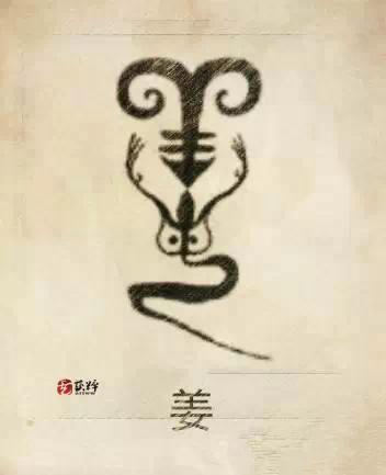 """姜姓圖騰,姜姓是炎帝族以羊圖騰得姓。凡從女的姓都是母系社會確定的姓,是最古老的姓。圖為一""""商羊"""",即鱷魚,為崇龍之族。(龍圖騰來自鱷魚崇拜)。起源主要有三:①出自神農氏,炎帝之後,以居地為姓。②出自亘氏改姓。③出自少數民族。始祖:炎帝。"""