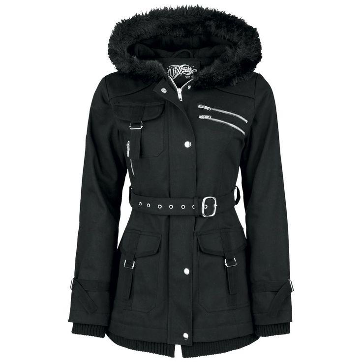 """Abrigada en días fríos: chaqueta forrada para chica """"Rize"""" de Vixxsin con abundantes bolsillos, hebillas y cuello de piel. La chaqueta de invierno es negra y realizada en 100% algodón."""
