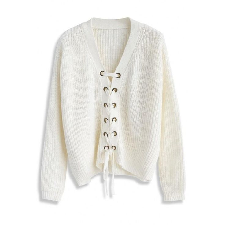Solid White Sweet Women Sweater V-neck Long Sleeve High-low Lace-up Cardigans Preppy Style Loose Casual Sweaters