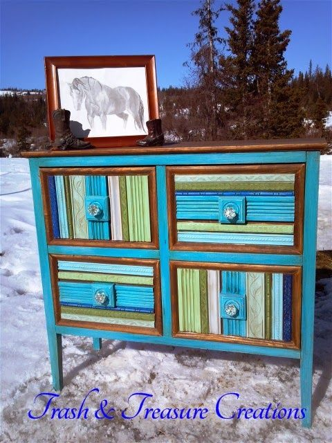 Chest Of Drawers Turned Art By Trash & Treasure Creations - Featured On Furniture Flippin'