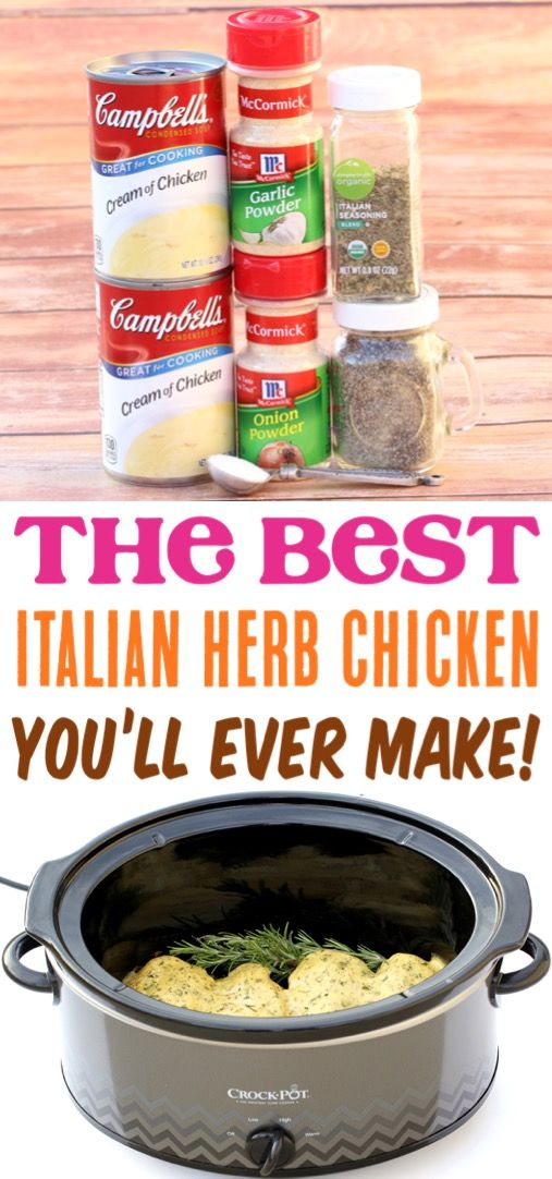 Crockpot Italian Herb Chicken Recipe!  Easy Slow Cooker Recipes make the best we…