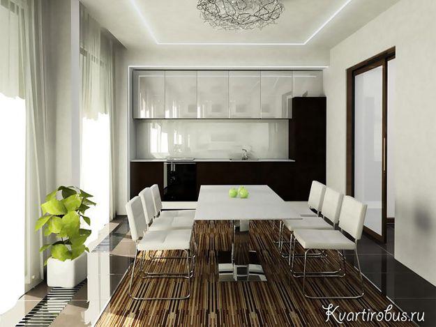 Сочетание белых стен и тёмной мебели является очень типичным для кухни в стиле контемпорари, а зеленые растения отлично освежают обстановку.