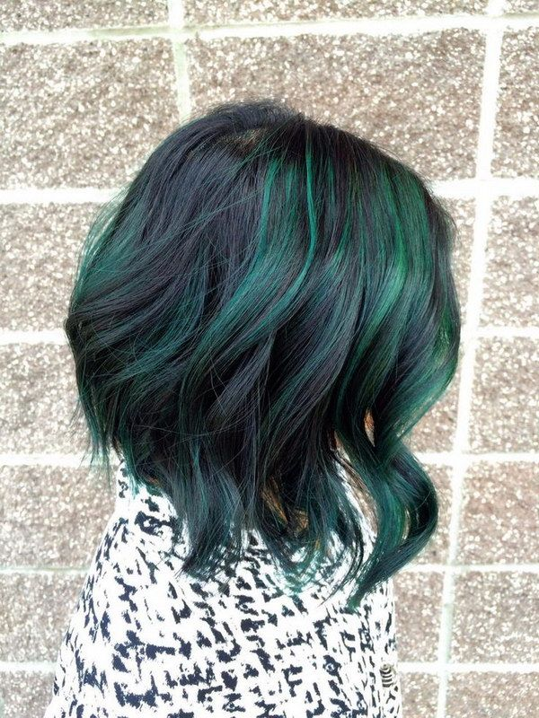 Peacock Green Highlights on Short Black Hair.