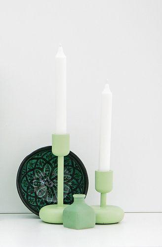 Iittala Nappula celadon green candleholders. Via purodeco.