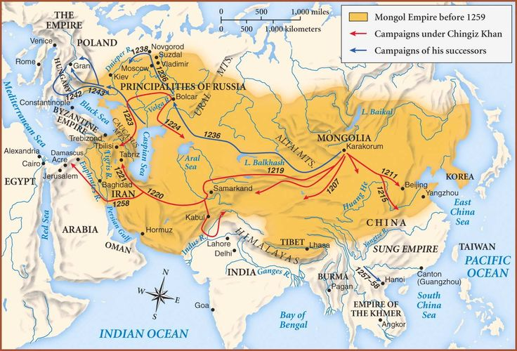 The Mongols invade China from the north, defeat the Song, and establish the Yuan dynasty in 1279, ruling less than one-hundred years, to 1368. Under Khubilai (Kublai) Khan (1215-1294), the supreme leader of the Mongols and a grandson of Chinggis (Genghis) Khan (d. 1227), the Mongols move the Chinese capital to Beijing and establish the capital of their empire there.