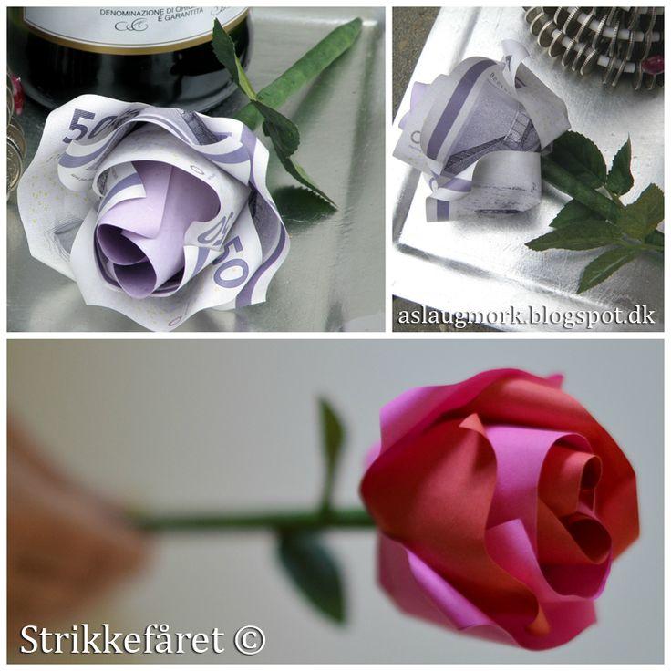 Strikkefåret: Rose foldet af penge