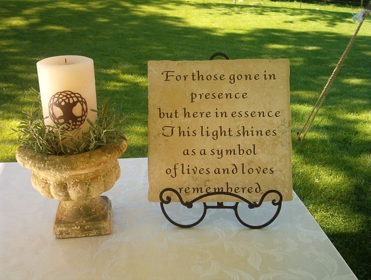 DIY Celtic Tree of Life memorial candle and plaque in loving memory of those close to our hearts who are no longer with us.  Sprigs of live rosemary, for remembrance, surround the candle.