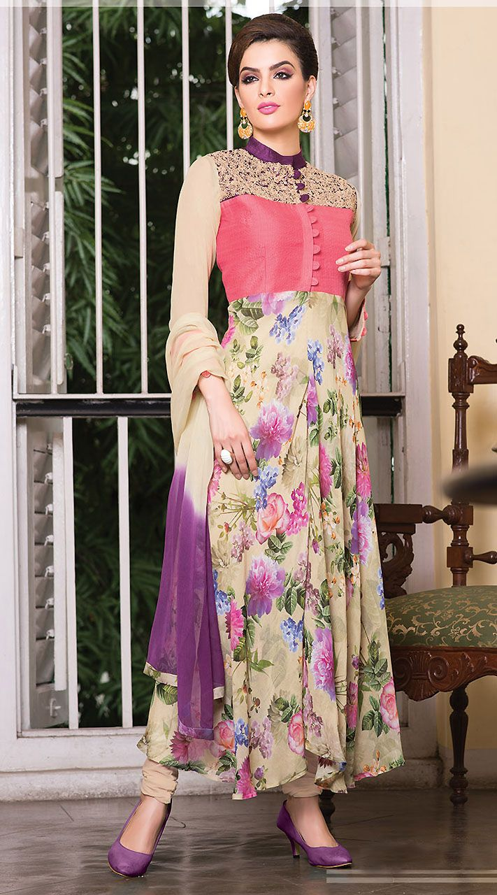 Exclusive Floral Printed Dusty Cream Ready Made Salwar Kameez