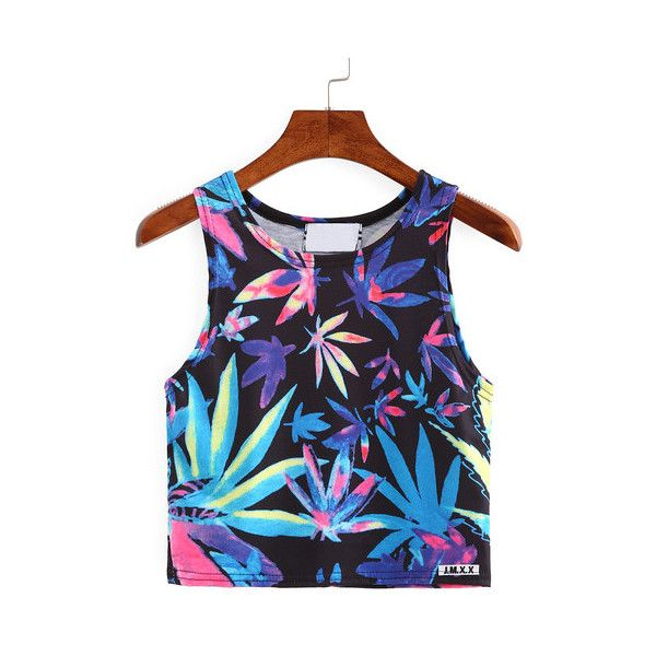 SheIn(sheinside) Leaf Print Crop Tank Top ($7.99) ❤ liked on Polyvore featuring tops, multi color, cami top, cami crop top, cami tank tops, cropped camis and summer tank tops