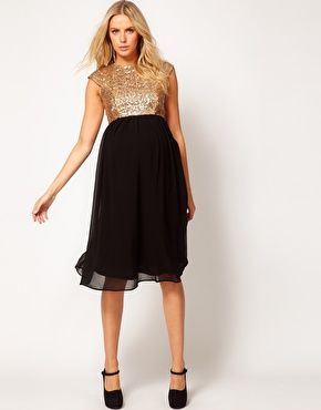 Cute maternity dress for March wedding I am going to??????Enlarge ASOS Maternity Midi Dress In Sequin And Chiffon