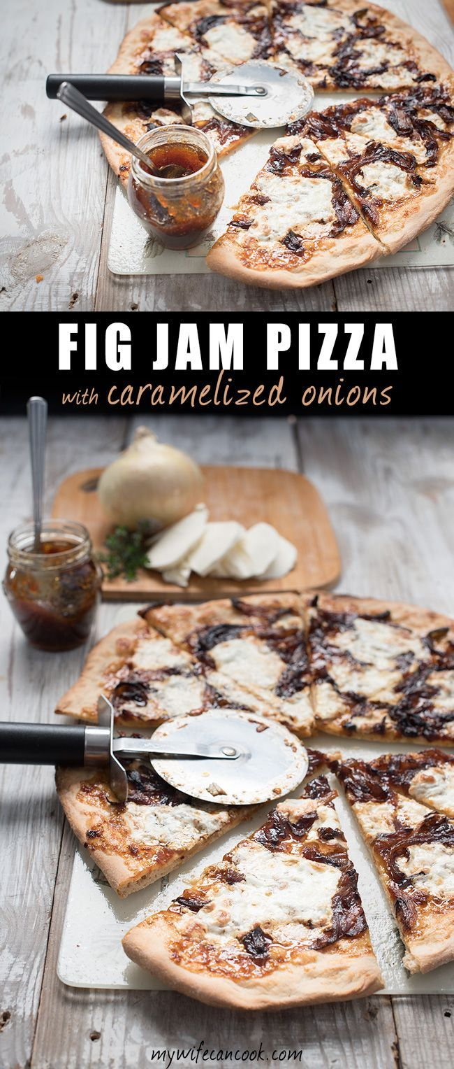 Fig Jam Pizza with caramelized onions is not you average pizza. It has bold flavors that will excite your taste buds and it is one of our absolute favorite uses for fig jam. Plus, is making pizza every reall a bad idea? We love friday night pizza night and this fig jam pizza is one of our new favorite recipes. Carameilzed onions are one of our new favorite ingredients and when thinking of another bold flavor to pair them with we landed on figs. Are your taste buds prepared to ignite?