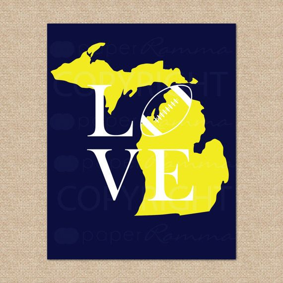 Michigan Wolverines Football Print // Archival Giclee Art Print // 8x10 on Etsy, $20.00