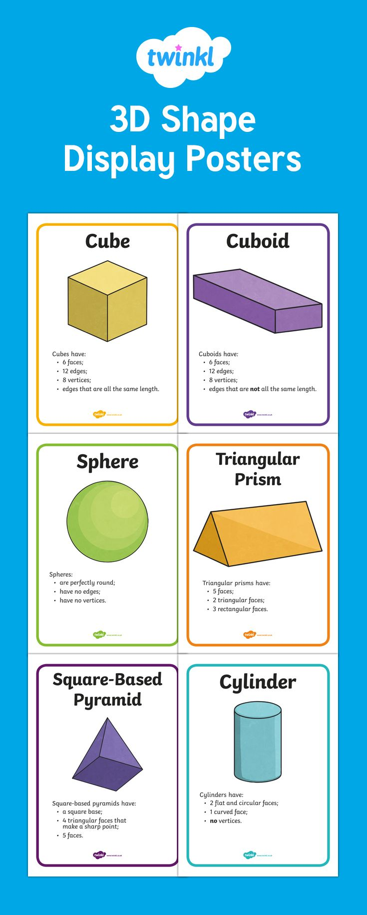 3D Shape Properties Display Posters - These display posters feature a series of lovely hand drawn images to illustrate your teaching on this topic. Great for enhancing your classroom, for general display, or as discussion prompts.