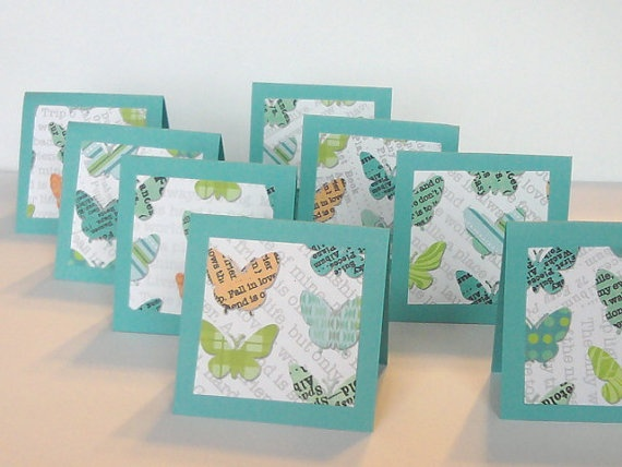 Mini Cards Lunch box Notes Teal Butterfly by AlwaysPrettyPaper, $2.50