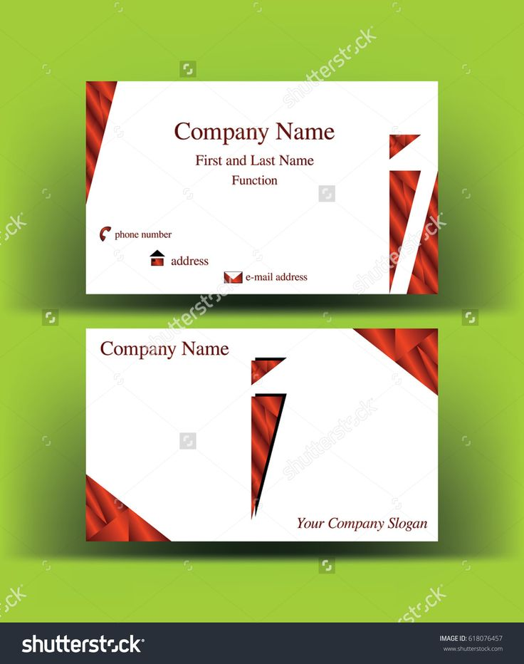 #Business #card with abstract #i #letter logo made of #silky #red geometric shapes, on green background