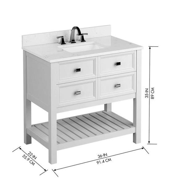 Scott Living Canterbury 36 In Single Sink White Bathroom Vanity With Engineered Stone Top L In 2020 Single Sink Bathroom Vanity White Vanity Bathroom Bathroom Vanity