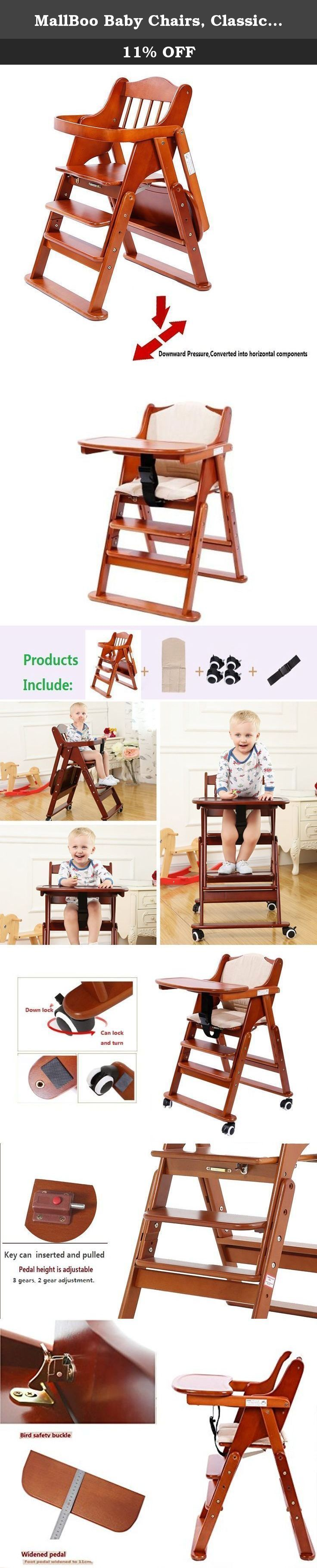 MallBoo Baby Chairs, Classic Comfort Muli-function Beech Wood Foldable High Chair with Tray , Cushion and Universal Wheels (Light Coffee). Product Manufacture and brand:MallBoo Product Name: MallBoo Multi-function Beech Wood Foldable Highchair Product Material: Carefully selection of imported German beech, is a good choice for the production of children's chairs. The scope of products: The product is suitable for living room,indoors, outdoors, and a series of places. About product: The...