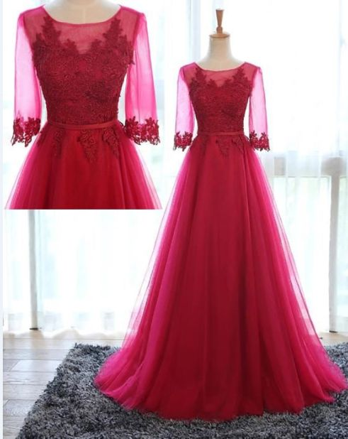 Half Sleeve Tulle Prom Dress,Long Prom Dresses,Charming Prom Dresses,Evening Dress, Prom Gowns, Formal Women Dress,prom dress