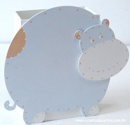 Abajur Hipopótamo - O Canto das Artes - Artesanato com Design