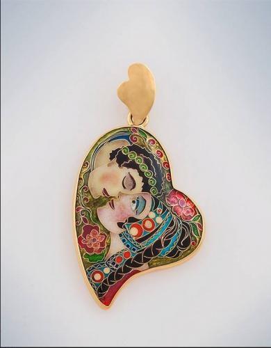 GORGEOUS Pendants Secret Rendezvo  Handmade in gold. Author Khatuna Roinishvili 900. gold-14kt (585). cloisonne enamel gold-24kt (999) 7.14 g. 44x25