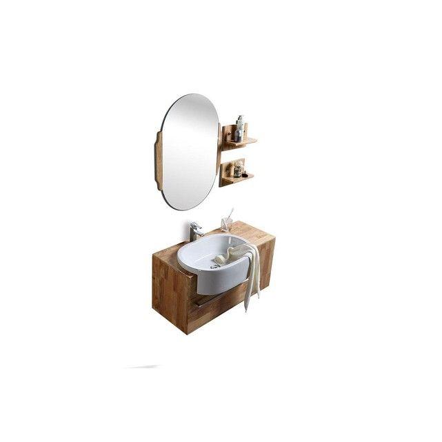 Meuble De Salle De Bain Vasque Meuble Sous Vasque Etageres Et Miroir Nivan Taille Taille Unique Meuble Sous Vasque Vasque Et Salle De Bain Sous Sol