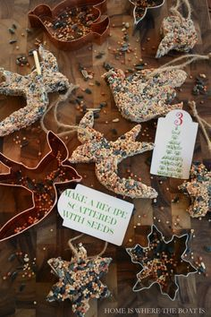 Bird seed treats, easy to make and mold into just about any shape. Hang on and outdoor tree with twine, enjoy the decorations, while feeding the birds too! #DIY #advent #Christmas